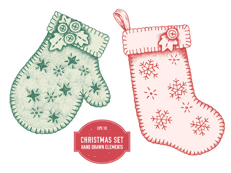 Stock illustration vector collection of hand drawn mitten and stocking