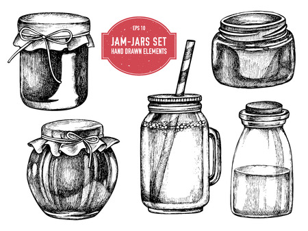 Vector collection of hand drawn black and white jars stock illustration