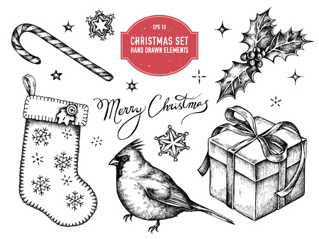 Vector collection of hand drawn black and white cardinal, lollipop, snowflakes, stocking, sparkles, lettering, holly, gift boxes stock illustration
