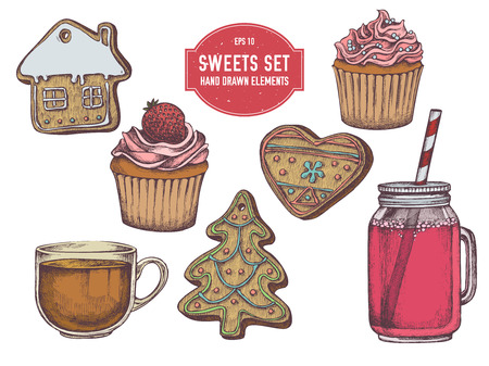 Wektor zbiory ręcznie rysowane kolorowe pierniki, babeczki, słoiki, filiżanka herbaty