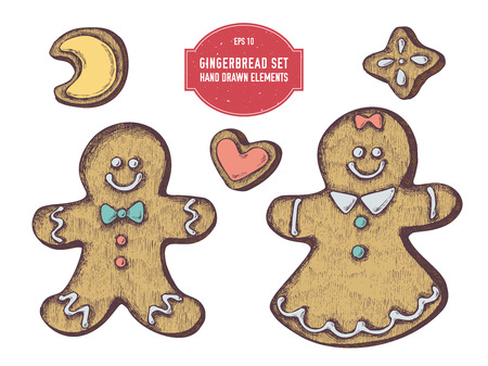 Vector collection of hand drawn colored  gingerbread, gingerbread men