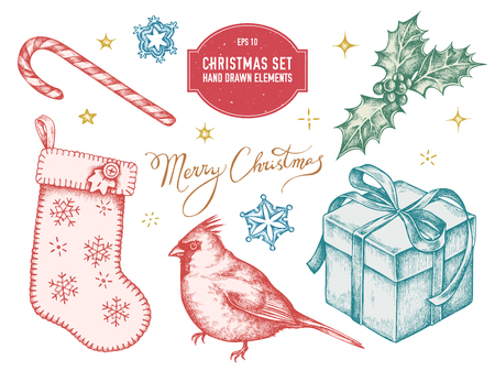 Vector collection of hand drawn pastel cardinal, lollipop, snowflakes, stocking, sparkles, lettering, holly, gift boxes stock illustration