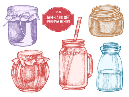 Vector collection of hand drawn pastel jars stock illustration
