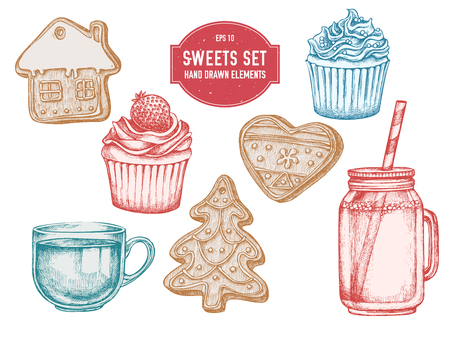Vector collection of hand drawn pastel gingerbread, cupcakes, jars, tea cup stock illustration