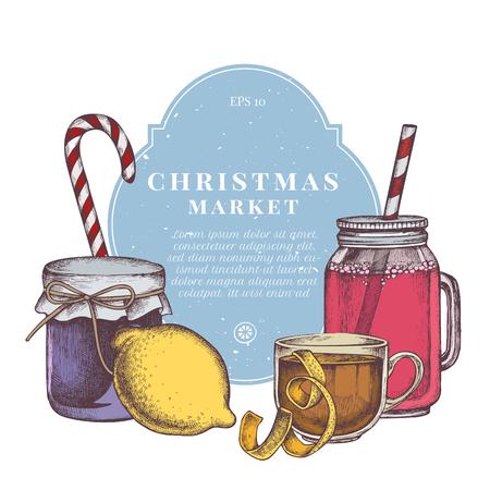 Vector composition with colored lollipop, lemons, jars, tea cup stock illustration Archivio Fotografico - 127116323