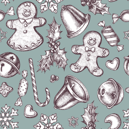 Seamless pattern with colored bells, jingles, gingerbread men, gingerbread, lollipop, candies, snowflakes, holly stock illustration