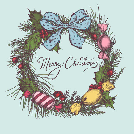 Vector composition with colored candies, holly, bow, rowan, lettering, pine branch, spruce, redwood stock illustration