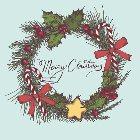 Vector composition with colored decorations, lollipop, bow, holly, rowan, lettering, pine branch, spruce, redwood stock illustration Vetores