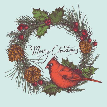 Vector composition with colored cardinal, cones, holly, rowan, lettering, pine branch, spruce, redwood stock illustration