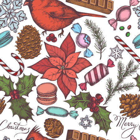 Seamless pattern with colored cardinal, macaron, lollipop, bar, candies, snowflakes, cones, lettering, poinsettia, holly, spruce stock illustration
