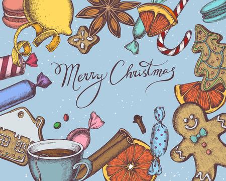 Vector composition with colored gingerbread men, gingerbread, cinnamon, macaron, lollipop, candies, lemons, oranges, lettering, tea cup stock illustration