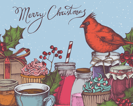 Vector composition with colored cardinal, rowan, lettering, cupcakes, holly, jars, tea cup, gift boxes stock illustration