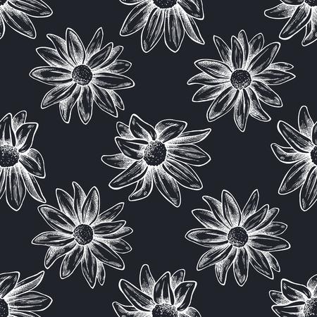 Seamless pattern with hand drawn chalk chrysanths, primula