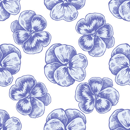 Seamless pattern with hand drawn pastel heartsease stock illustration