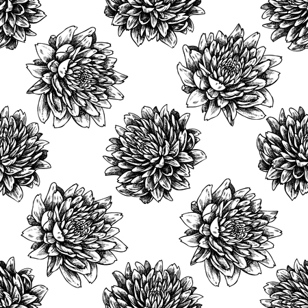 Seamless pattern with black and white aster stock illustration