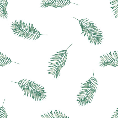 Seamless pattern with hand drawn pastel coconut palm leaves stock illustration Illustration