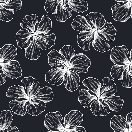 Seamless pattern with hand drawn chalk protea, hibiscus stock illustration