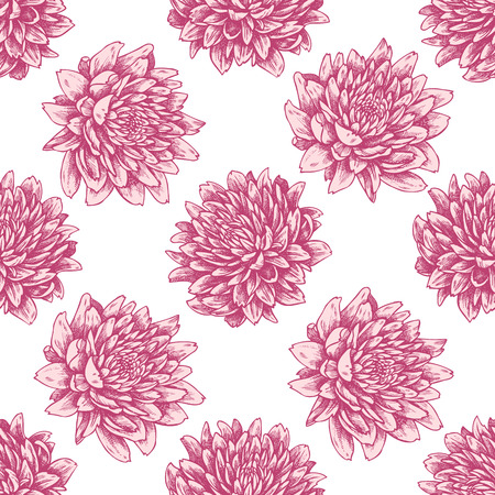 Seamless pattern with hand drawn pastel aster stock illustration