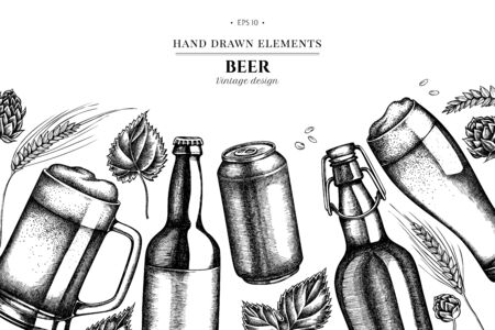 Floral design with black and white rye, hop, mug of beer, bottles of beer, aluminum can stock illustration