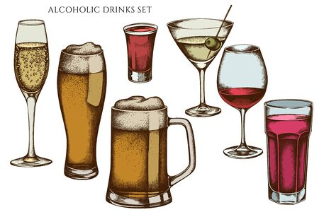 Vector set of hand drawn colored glass, mug of beer, alcohol shot, glass of champagne, glass of wine, glass of martini