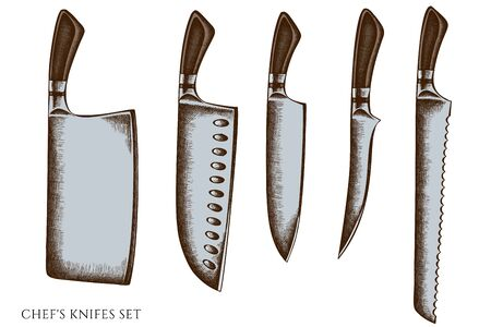 Vector set of hand drawn colored Chef s knifes stock illustration Illustration