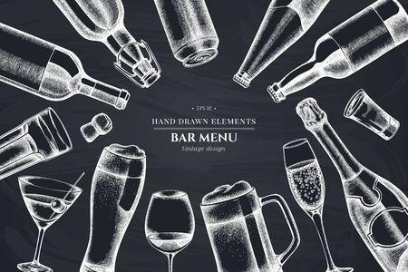 Floral design with chalk glass, champagne, mug of beer, alcohol shot, bottles of beer, bottle of wine, glass of champagne, glass of wine, glass of martini, aluminum can
