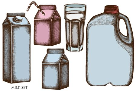 Vector set of hand drawn colored glass, milk boxes, gallon of milk