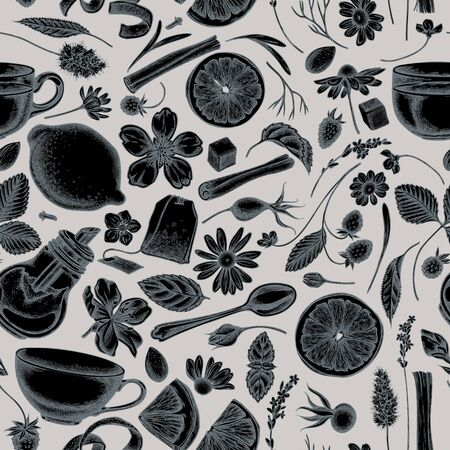 Seamless pattern with hand drawn stylized cinnamon, lemons, oranges, tea bag, sugar cubes, heather, chamomile, dog rose, peppermint, almond, strawberry, teaspoon, teapots, cups, sugar bowl