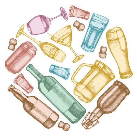Round floral design with pastel glass, champagne, mug of beer, alcohol shot, bottles of beer, bottle of wine, glass of champagne, glass of wine, glass of martini, aluminum can stock illustration