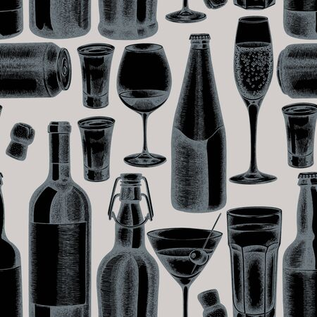 Seamless pattern with hand drawn stylized glass, champagne, mug of beer, alcohol shot, bottles of beer, bottle of wine, glass of champagne, glass of wine, glass of martini, aluminum can