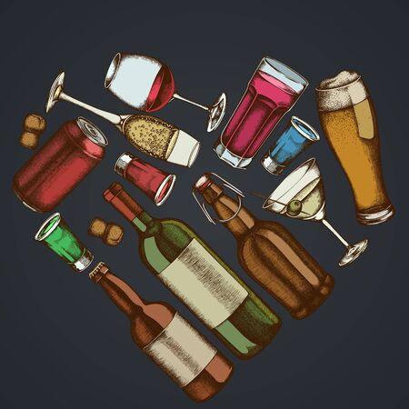 Heart floral design on dark background with glass, champagne, mug of beer, alcohol shot, bottles of beer, bottle of wine, glass of champagne, glass of wine, glass of martini, aluminum can stock illustration Çizim