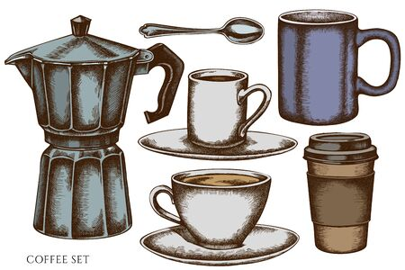 Vector set of hand drawn colored  coffee cups, teaspoon, paper cup, espresso cup, coffee pot, cups stock illustration