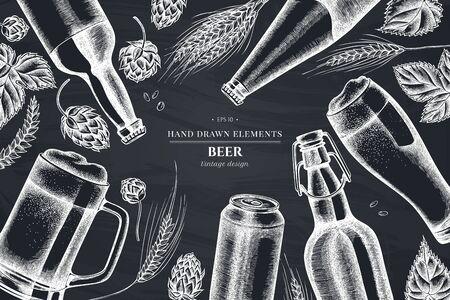 Floral design with chalk rye, hop, mug of beer, bottles of beer, aluminum can stock illustration