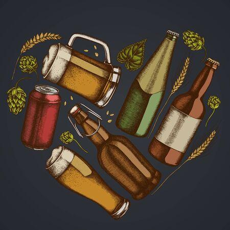 Heart floral design on dark background with rye, hop, mug of beer, bottles of beer, aluminum can stock illustration