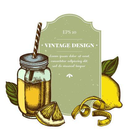 Badge design with colored lemons, basil, smothie jars stock illustration