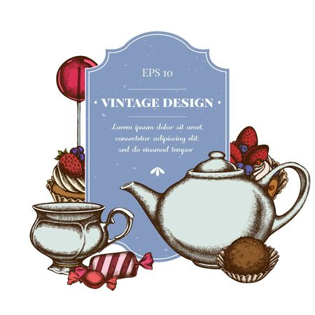 Badge design with colored lollipop, candies, cupcake, teapots, cups, truffle, cake, tartlet  イラスト・ベクター素材