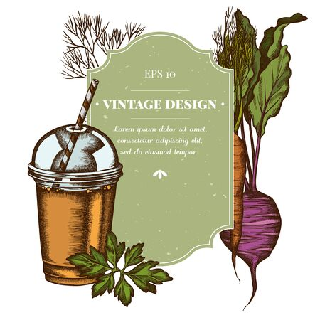 Badge design with colored beet, greenery, carrot, smoothie cup Illustration