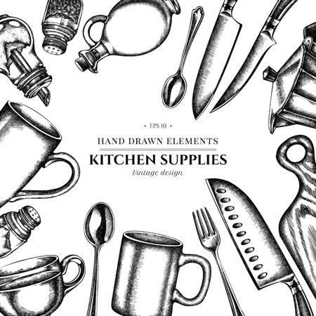 Floral design with black and white Chef s knifes, teaspoon, spoon, fork, knife, cutting board, bottle of oil, teapots, coffee pot, cups, sugar bowl, pepper shaker, salt shaker  イラスト・ベクター素材