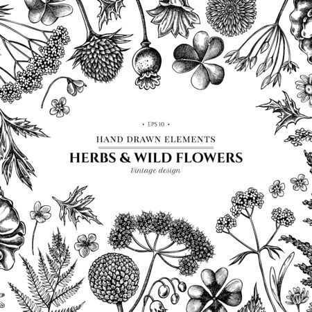 Floral design with black and white shepherd s purse, heather, fern, wild garlic, clover, globethistle, gentiana, astilbe, craspedia, lagurus, black caraway, chamomile, dandelion, poppy flower, lily of the valley, valerian, angelica