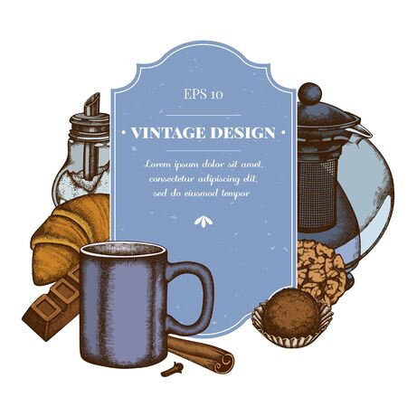 Badge design with colored cinnamon, bar, croissants and bread, teapots, cups, sugar bowl, cookie, truffle