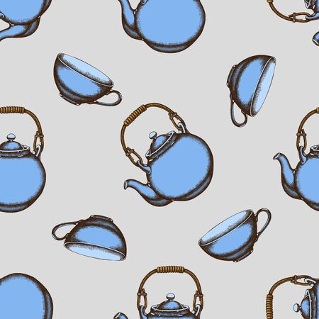Seamless pattern with hand drawn colored teapots, cups