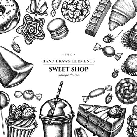 Floral design with black and white cinnamon, macaron, lollipop, bar, candies, oranges, buns and bread, croissants and bread, strawberry, milk boxes, smoothie cup, lollipop, smothie jars, cheesecake, eclair, cupcake, cake, donut, cookie, truffle, cake, tartlet Vectores