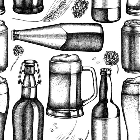 Seamless pattern with black and white rye, hop, mug of beer, bottles of beer, aluminum can