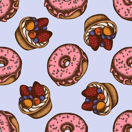 Seamless pattern with hand drawn colored donut, tartlet
