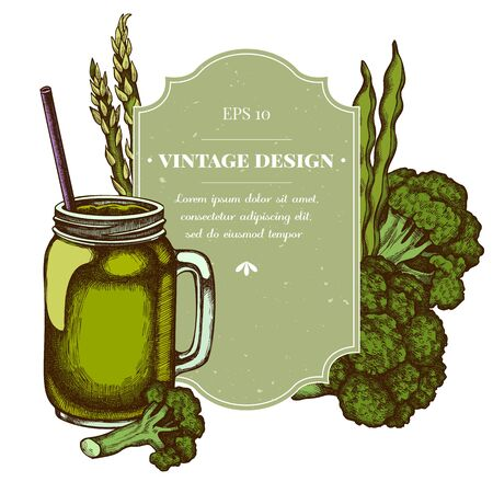 Badge design with colored broccoli, green beans, smothie jars
