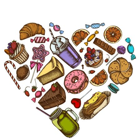Heart floral design with colored cinnamon, macaron, lollipop, bar, candies, oranges, buns and bread, croissants and bread, strawberry, milk boxes, smoothie cup, lollipop, smothie jars, cheesecake, eclair, cupcake, cake, donut, cookie, truffle, cake, tartlet