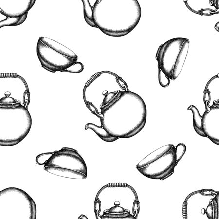 Seamless pattern with black and white teapots, cups Ilustracja