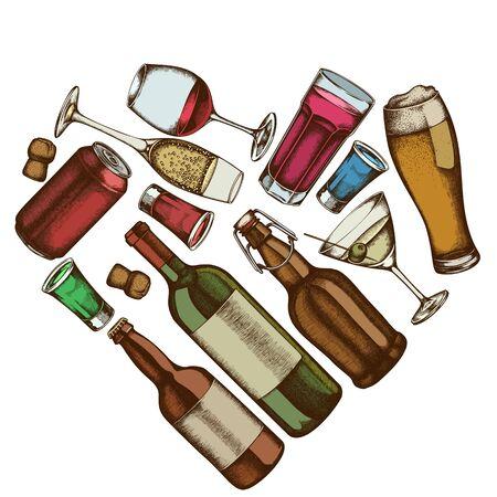 Cuore floreale con vetro colorato, champagne, boccale di birra, alcol, bottiglie di birra, bottiglia di vino, bicchiere di champagne, bicchiere di vino, bicchiere di martini, lattina di alluminio illustrazione di stock