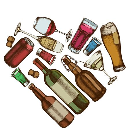 Heart floral design with colored glass, champagne, mug of beer, alcohol shot, bottles of beer, bottle of wine, glass of champagne, glass of wine, glass of martini, aluminum can stock illustration