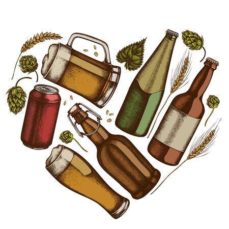 Heart floral design with colored rye, hop, mug of beer, bottles of beer, aluminum can stock illustration